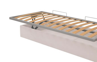 Orthopaedic metal base opening on horizontal storage unit with bed make-up mechanism